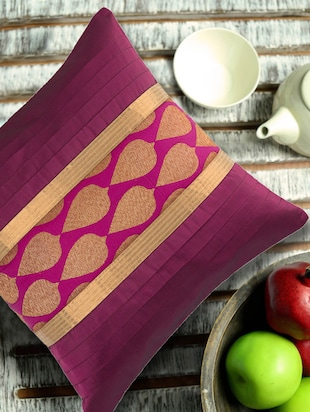 Purple Cushion cover with leaf motif brocade and ribbed patti