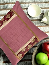 Onion Pink Cushion Cover With Brocade Border Patch - ANS
