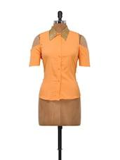 Orange Cut Out Shoulder Top - Schwof