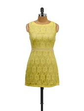 Yellow All Over Lace Dress - Schwof
