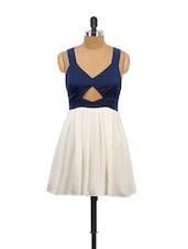White And Blue Front Keyhole Dress - Schwof