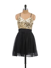 Glittery Gold And Black Sequined Dress - Schwof