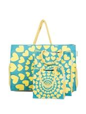 Yellow Hearts Jute Gift Bag Set (Set Of 3) - Greenobag