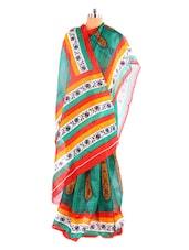 Gorgeous Printed Green Printed Bhagalpuri Silk Saree With Blouse Piece - Riti Riwaz