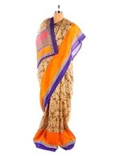 Beautiful Orange And Gold Printed Bhagalpuri Silk Saree With Blouse Piece - Riti Riwaz