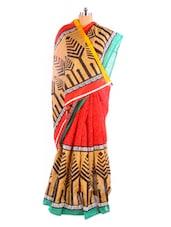 Beautiful Printed Bhagalpuri Silk Saree With Blouse Piece - Riti Riwaz