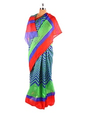 Fabulous Green And Blue Printed Bhagalpuri Silk Saree With Blouse Piece - Riti Riwaz