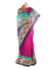 Beautiful Pink Printed Bhagalpuri Silk Saree With Blouse Piece - Riti Riwaz