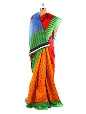 Stylish Printed Bhagalpuri Silk Saree With Blouse Piece - Riti Riwaz