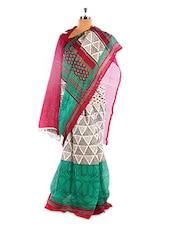 Gorgeous White And Green Printed Bhagalpuri Silk Saree With Blouse Piece - Riti Riwaz