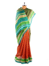 Amazing Green And Brown Printed Bhagalpuri Silk Saree With Blouse Piece - Riti Riwaz