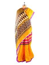 Fabulous Yellow Printed Bhagalpuri Silk Saree With Blouse Piece - Riti Riwaz