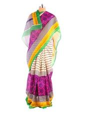 Lovely Purple And Green Printed Bhagalpuri Silk Saree With Blouse Piece - Riti Riwaz