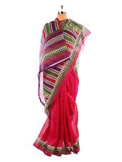 Printed Bhagalpuri Silk Saree With Blouse Piece - Riti Riwaz