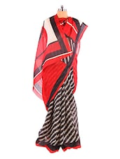 Graceful Red And Black Printed Bhagalpuri Silk Saree With Blouse Piece - Riti Riwaz