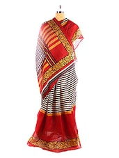 Red And White Striped Bhagalpuri Silk Saree With Blouse Piece - Riti Riwaz