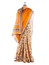 Peach And Orange Bhagalpuri Silk Saree - Riti Riwaz