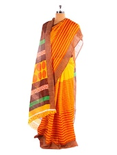 Orange And Yellow Bhagalpuri Silk Saree - Riti Riwaz