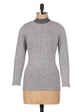 Grey High-Neck Knitted Top - Renka
