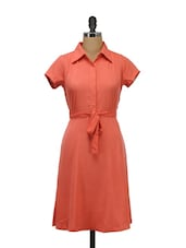 Coral Tie-up Waist Casual Dress - Meira