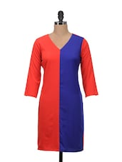 Blue And Red Full-sleeved Dress - Meira