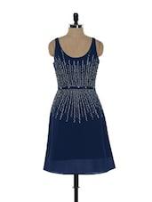 Embellished Navy Blue Sleeveless Dress - Ozel Studio
