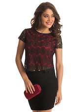 Red Lace Crop Top - PrettySecrets