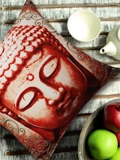Classic Buddha Face Print Red Cushion Cover - 13 Odds