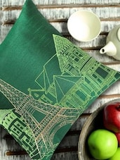 Eiffel Tower Embroidered Green & Gold Cushion Cover - 13 Odds