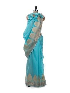 Sky Blue Chanderi Cotton Saree With Pearl Edging - URBAN PARI