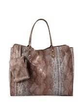 Brown Reptile Skin Hand Bag With Pouch - Phive Rivers
