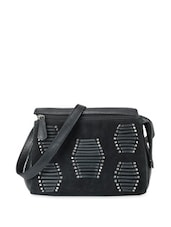 Stylish Black Leather Handbag With Metal Studs - Phive Rivers