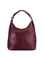 Cherry Red Leather Handbag With Tassels - Phive Rivers