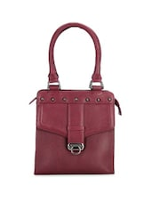 Cherry Red Leather Handbag With Metal Studs - Phive Rivers