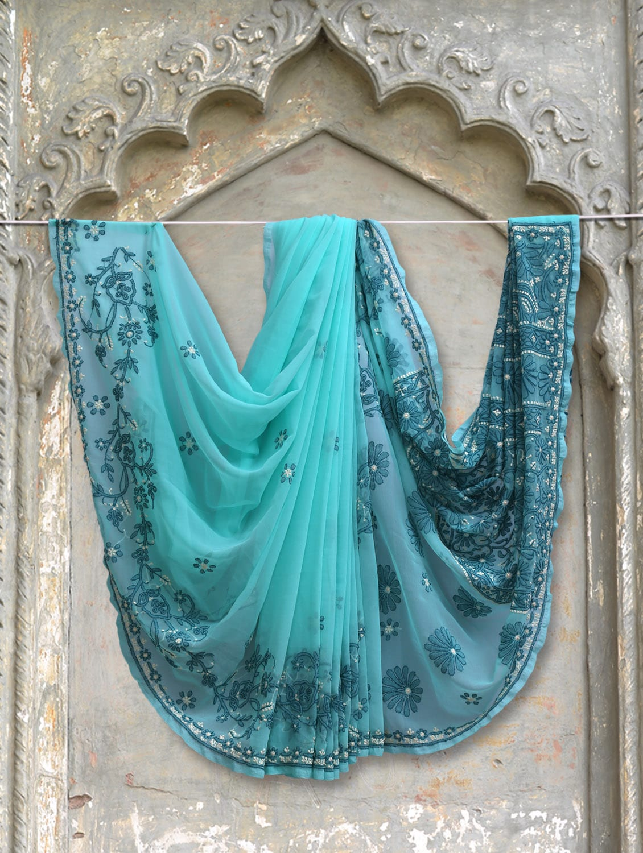 Sky Blue Chikankari Saree - Ada