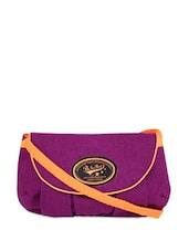 Solid Purple Sling Bag Cum Clutch - Be... For Bag