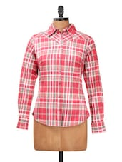 Stunning Pink Checkered Full Sleeves Shirt - Silk Weavers