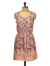 Chic Brown Sleeveless Dress - Silk Weavers