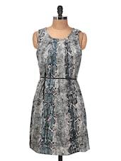 Grey Printed Sleeveless Dress - Silk Weavers