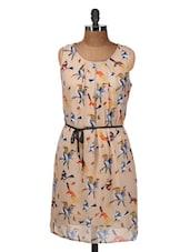 Sleeveless Beige Bird Print Dress - Silk Weavers