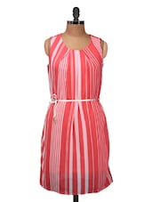Coral And White Striped Sleeveless Dress - Silk Weavers