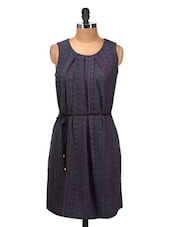 Navy Blue Printed Sleeveless Dress - Silk Weavers