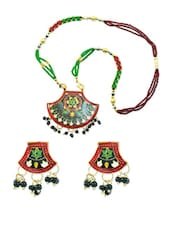Unique Multi-coloured Necklace And Earrings With A Peacock Design - AAKSHI