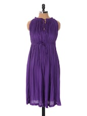 Purple Dress With Gather Details - Xniva