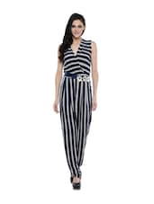 Navy Blue Striped Jumpsuit - RENA LOVE