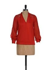 Shoulder Sequins Scarlet Top - RENA LOVE