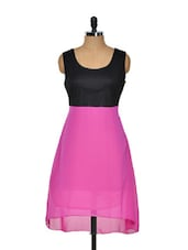 Black And Pink Poly Georgette Beautiful Dress - KAXIAA