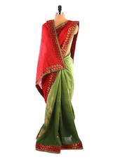 Sap Green And Red Printed Saree - DLINES