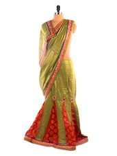 Mehendi Green And Red Lehenga Saree - DLINES