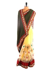 Cream And Black Embroidered Saree - DLINES